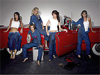 Girls Aloud red convertible cadillac